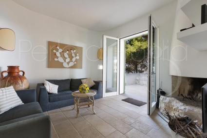 Il soggiorno con i divani per il relax accanto al camino