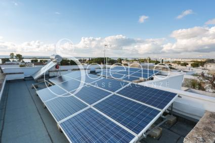On the roof there are solar panels for energy self-reliance